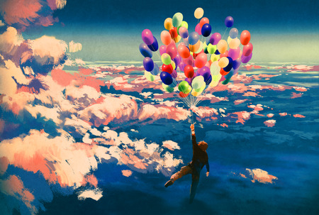 vivid colors: man flying with colorful balloons in beautiful cloudy sky,illustration painting
