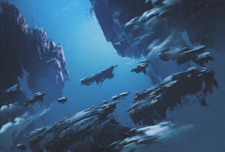 paisaje: isla de la fantasía que flota en el cielo, ilustración pintura