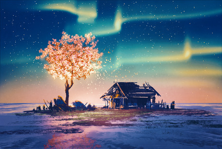 christmas concept: abandoned house and fantasy tree lights under Northern Lights,illustration painting