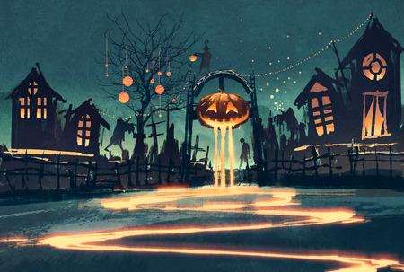 Noite de Halloween com abóbora e casas mal-assombradas, pintura ilustração