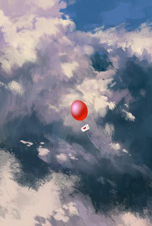연애 편지 봉투 구름을 통해 부동, 그림 그리기와 빨간 풍선 스톡 콘텐츠