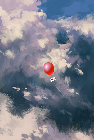 red balloon with love letter envelope floating through the clouds,illustration painting Stock Photo