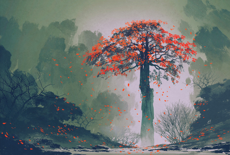 snow fall: lonely red autumn tree with falling leaves in winter forest,landscape painting