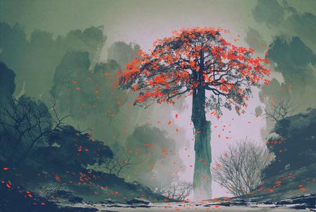 viento: solitario árbol de otoño rojo con las hojas que caen en el bosque de invierno, pintura de paisaje