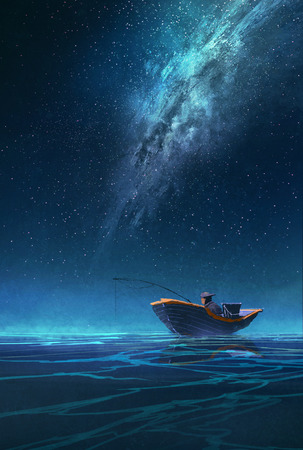 alone: pescador en un barco en la noche bajo la Vía Láctea, ilustración pintura Foto de archivo