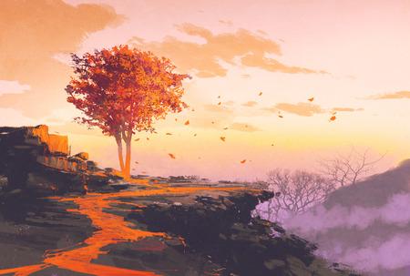 schilderen van smeltende herfst boom op de top van de berg