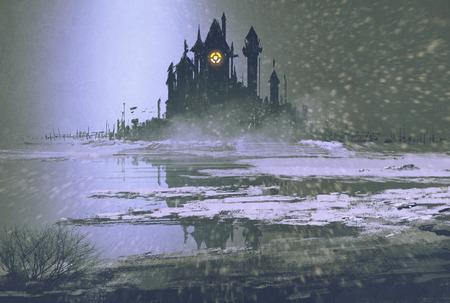 Kasteel silhouet in de winter 's nachts, illustratie schilderij