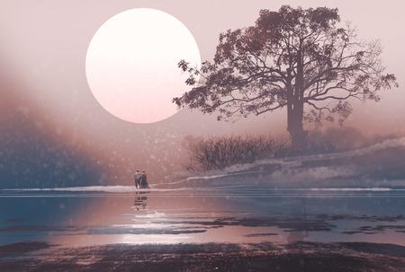 Love couple dans le paysage d'hiver avec une énorme lune au-dessus, illustration peinture