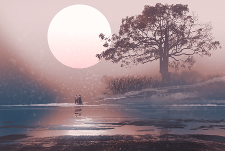 light painting: love couple in winter landscape with huge moon above,illustration painting