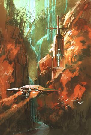 Nave espacial en el fondo del faro y el cañón de color rojo, ilustración pintura Foto de archivo - 45580096