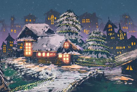 Cena da noite de Natal de casas de madeira com luzes de natal, ilustração pintura