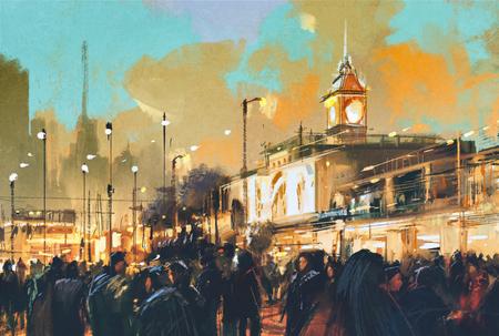 peinture: belle peinture de personnes dans un parc de la ville au coucher du soleil