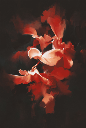 beautiful red flowers in dark background with oil painting style Stock Photo