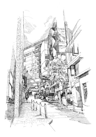 cityscapes: free hand sketch of the old alley of the city