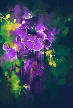 beautiful purple flowers in dark background with oil painting style