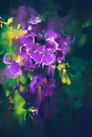 prachtige paarse bloemen in een donkere achtergrond met olieverf stijl
