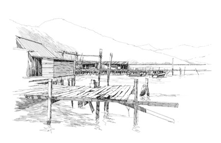 dibujos lineales: dibujo de paisaje con pueblo de pescadores Foto de archivo