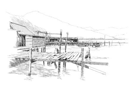 lijntekening: tekening van het landschap met oude vissersdorp