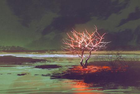 illustratie schilderij van de nacht landschap met gloeiende boom