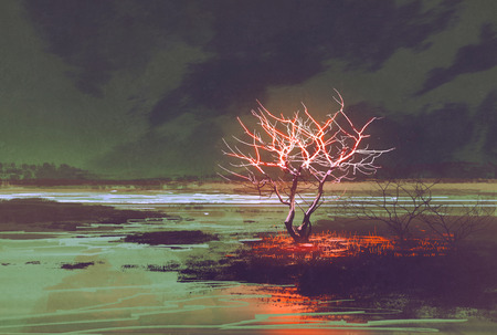 illustration painting of night landscape with glowing tree Stock Photo