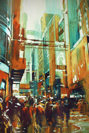 painting of people in modern urban city Stok Fotoğraf