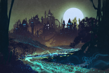 fantasy castle: beautiful landscape with mysterious river,full moon over castles,illustration painting Stock Photo