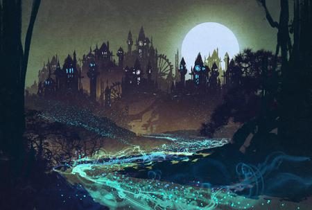 castillos: hermoso paisaje con el río misterioso, luna llena sobre castillos, ilustración pintura