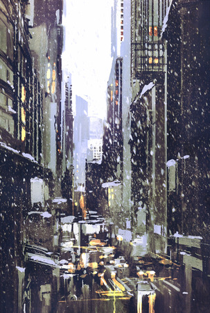 busy street: painting of winter city with snow