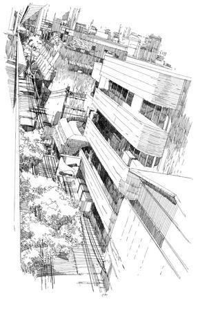 bovenaanzicht van stadsgezicht, vrije hand tekening
