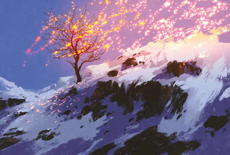 fantasy landscape showing bare tree in winter with glowing snow,digital painting Stok Fotoğraf - 45811886