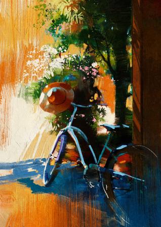 여름 day.digital 그림 빈티지 자전거와 오래된 모자 스톡 콘텐츠