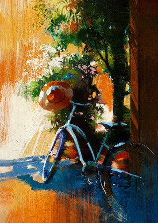 painting on wall: vintage bicycle and old hat on summer day.digital painting Stock Photo