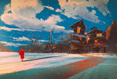 Paisaje de invierno con casa de madera en la noche de Navidad, ilustración pintura Foto de archivo - 46076281