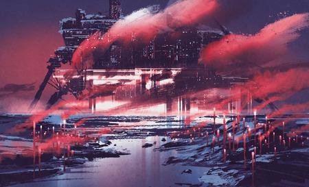 산업 도시의 공상 과학 소설 장면, 그림 그림