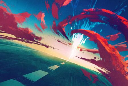 weg met bliksem en rode storm vooruit, illustration painting