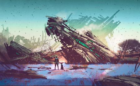 HOMBRE PINTANDO: nave espacial se estrelló en campo azul, ilustración pintura Foto de archivo