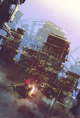 sci-fi scene of old building,cyberpunk concept,illustration painting