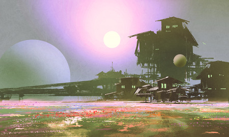 flower fields: factory and industry in flower fields,sci-fi scene,illustration painting