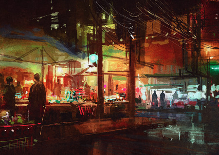 shopping mall: digital painting of people walking in the market at night