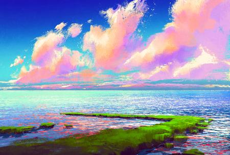 belo mar sob o céu colorido, pintura de paisagem