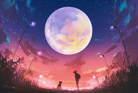年輕女子與狗在美麗的夜晚巨大的月亮上面,插圖繪畫 版權商用圖片