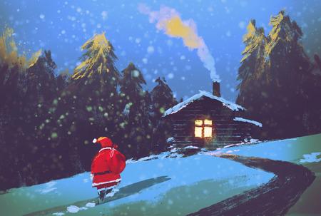 Зимний пейзаж с Санта-Клаусом и деревянный дом на рождественскую ночь, иллюстрация живопись