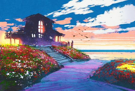 비치 하우스와 배경에서 화려한 꽃과 바다의 그림 스톡 콘텐츠