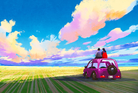 landscape painting: young couple sitting on car in front of dramatic landscape,illustration painting