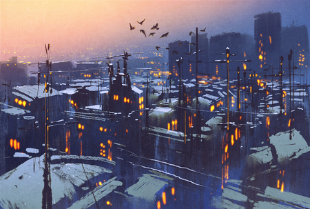 painting of city snowy winter scene,rooftops covered with snow at sunset