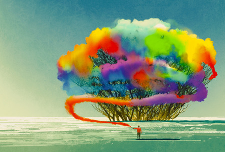 男子繪製抽象的樹五顏六色的煙霧彈,插圖畫