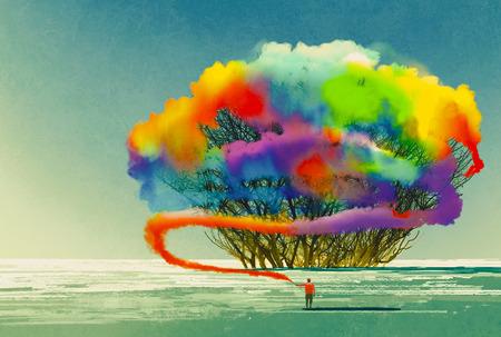 Mann zieht abstrakten Baum mit bunten Rauch Fackel, Illustration,