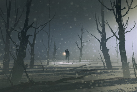 forest trees: man holding lantern stands in dark forest with fog,illustration painting