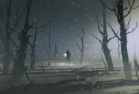uomo che tiene la lanterna si trova in foresta scura con nebbia, illustrazione pittura