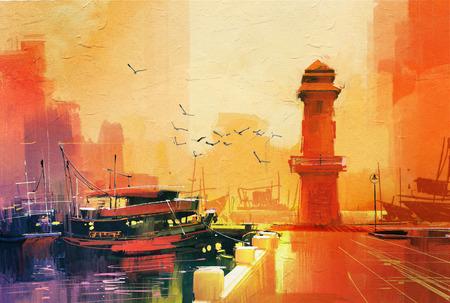 Faro y barco de pesca en la puesta del sol, el estilo de la pintura al óleo Foto de archivo - 46643456